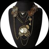 steampunk plastron Alice collier montre lapin , montgolfière, collier engrenage fait main