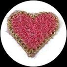 Applique coeur fleurs organza rose, sequins roses, galon doré APP066