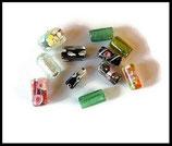 Perles verre tubes mélange - lot 12 perles tubes millefiori, feuille d'argent , à motifs Réf : 1391