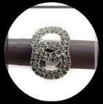 Bague fantaisie réglable infini strass, support métal argenté BAG101