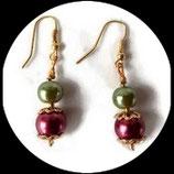 Boucles d'oreilles perles nacrées rouges et vertes