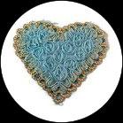 Applique coeur fleurs organza bleu, sequins turquoise et galon APP071