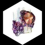 Bracelet manchette fil aluminium rose mauve violet perles fait main