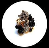 Bague réglable dorée chat strass et roses noires BAG042