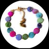 bracelet réglable perles de verre nacrées multicolores