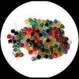 Toupies ou bicones en cristal de verre multicolore strié 4 mm X 50 perles Réf : 850