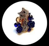 Bague réglable dorée chat strass et roses bleues BAG043