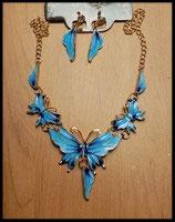 Parure papillons collier et boucles d'oreilles émail turquoise à paillettes  PAR008
