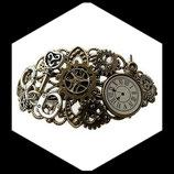Bracelet steampunk  engrenages, montre, clé, menottes, bracelet style steampunk fait main