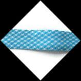 Biais replié 20 mm polyester vichy turquoise et blanc  BIA012