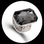 Bague élastique homme imitation cristal noir BAG062