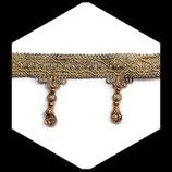 Galon beige frange perlée marron 7.5 cm vendu au mètre GAL031