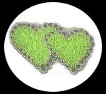 applique deux coeurs vert anis, galon et sequins, à coudre ou à coller APP124