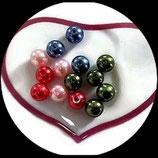 lot de 14 perles de verre nacrées en mélange 10 mm création bijoux Réf : 1565