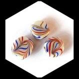 Perles palets ronds en verre 21 mm blanc et multicolore  X 3 perles Réf : 1073