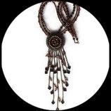 Bohème vintage collier sautoir ethnique , perles et pendentif vintage