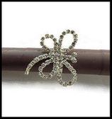 Bague fantaisie réglable libelllule strass, support métal argenté BAG102
