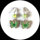 Boucles oreilles papillon vert émail.