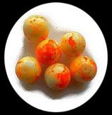 Perle en verre effet marbre 16 mm orange   Réf : 041