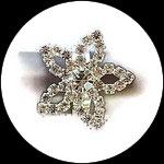 Bague fantaisie réglable strass fleur étoile, support métal argenté BAG173