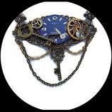 collier  steampunk ras de cou engrenages et cadran bleu