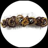 Barrette  fil aluminium marron et or, perle zébrée, perle panthère