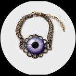 bracelet gothique réglable métal bronze et oeil