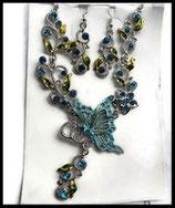 Parure papillon turquoise collier et boucles d'oreilles argentés, strass  PAR021