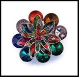 Grosse bague élastique fleur multicolore 3D strass métal argenté BAG094