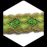 Galon or, vert à sequins 5.5 cm vendu au mètre GAL001