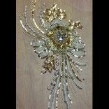 Applique fleur 3D brodée or avec sequins et strass  APP025