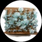 Galon chaîne perles et fleurs bleues, lot de 5 métres GAL059