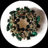 Broche couronne métal doré, strass vert émeraude BRO056