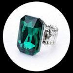Bague élastique homme imitation cristal vert émeraude BAG061