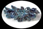 barrette pince à cheveux fleur bleue strass  BAR007