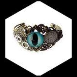 """Bracelet steampunk  """" regard sur le temps """" fait main, bijou de créateur."""