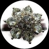 Grosse bague élastique fleur 3D strass naturels métal argenté BAG159
