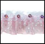 Volant dentelle, organza rose à pois blancs,  sequins roses 3 cm DEN076