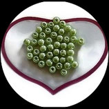 lot de 45 perles de verre  nacrées vert 6 mm création bijoux Réf : 1557