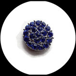 Bouton snap strass bleu royal 20 mm pour bijoux snap chunk - Réf : 1461.