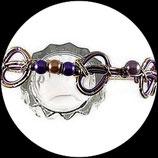Serre tête en fil aluminium doré et violet, perles  - Accessoire coiffure enfant fait main.