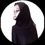 Cagoule ou hijab adulte marron motifs strass  pour costume CAG015