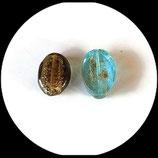 perles de verre palet ovale en mélange X 2 -  lot de 2 pièces  palets ovales pour création de bijoux . Réf : 1409.