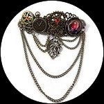 Barrette cheveux steampunk galaxie, rouages, octopus