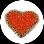 Applique coeur fleurs organza orange, sequins oranges, galon doré APP064