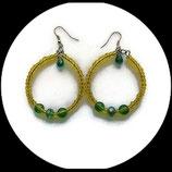créoles boucles oreilles percées rocaille swarovski vert jaune artisanal