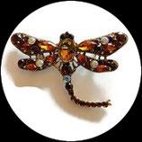 Broche libellule strass ambre et irisés, broche bijou fantaisie strass  BRO090