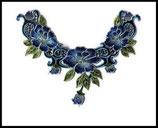 faux col plastron à coudre dentelle brodée camaïeu de bleu et de vert, embellissement couture
