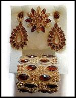 Parure bijoux fantaisie 3 pièces strass ambre, métal doré PAR045