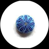 bouton snap chunk fimo et strass fleur bleue 19 mm pour bijoux personnalisables Ref 1465